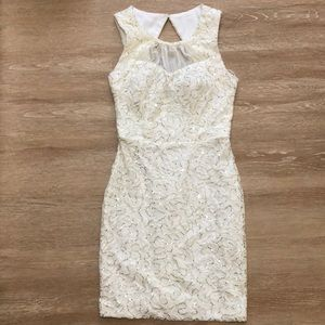 White dress with gold sequins